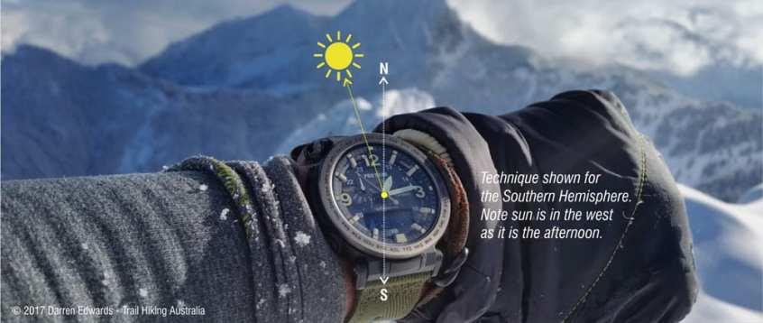 Navigation by Watch Method trail hiking Australia