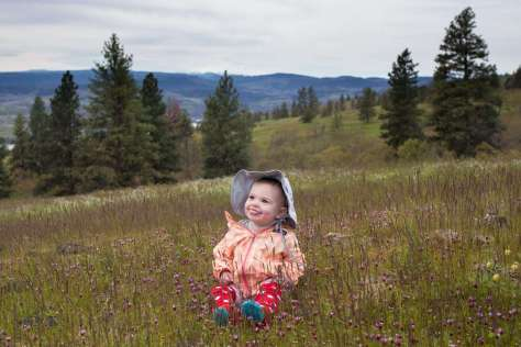 A smiling baby sitting among purple-blooming flowers on a hillside meadow, with scattered coniferous trees in the middle distance and mountains in the distance.