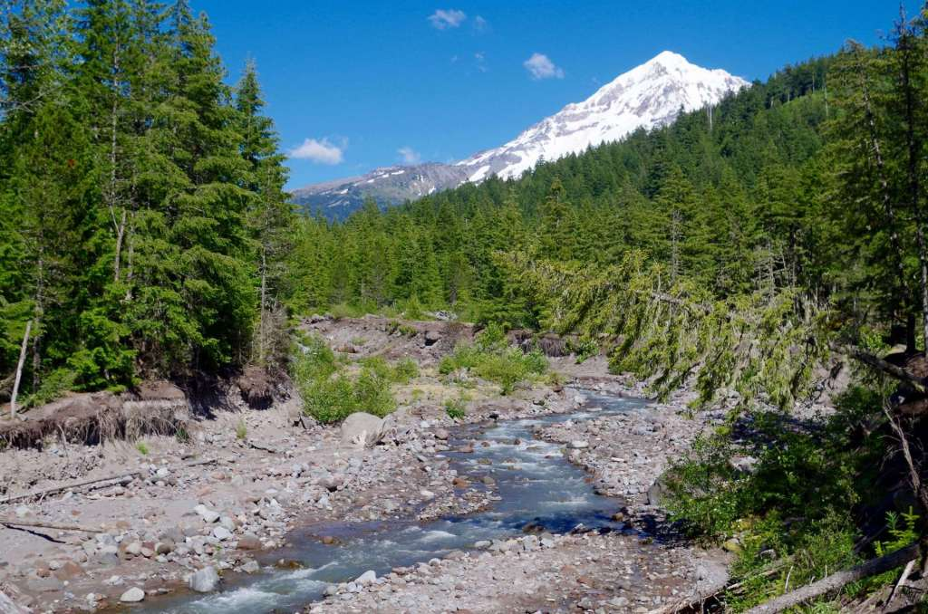 A river running through rocky debris with a snow-capped mountain behind.