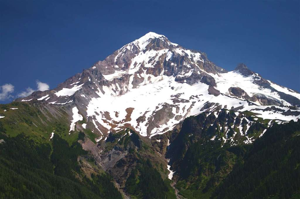 A large snow-capped mountain.