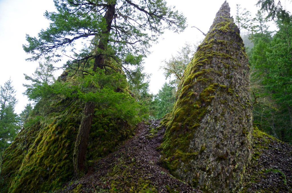 Two pointed basalt pinnacles, one of them partially obscured by a tree.