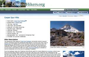 An example of the Oregon Hikers Field Guide entry