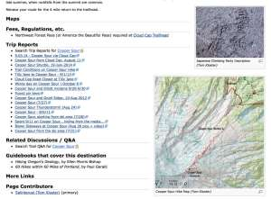 An example of cross-linked trip reports as they appear on OregonHikers.org