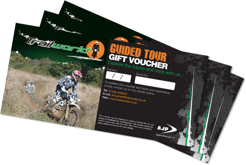 Motorcycle trail holiday gift vouchers