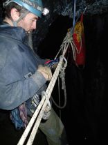 De-rigging the pull through. Fit descender to the descent rope
