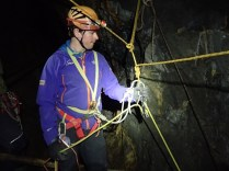 Rigging a belay and a releasable rope for SRT candidate