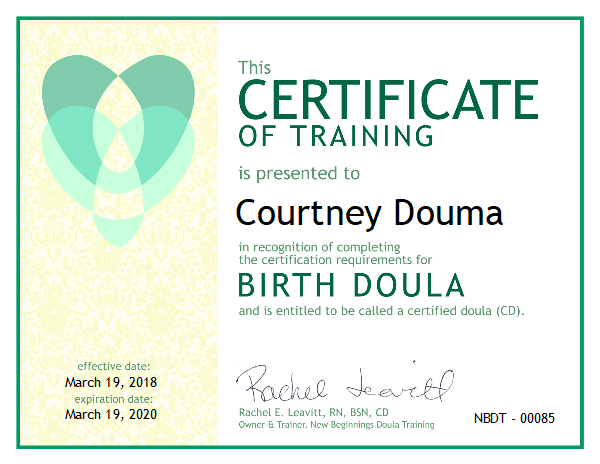 Courtney Douma, Certified Doula serving the Sioux Center, Iowa area