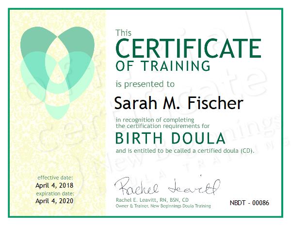 Sarah M. Fischer, Certifided Doua in North Idaho