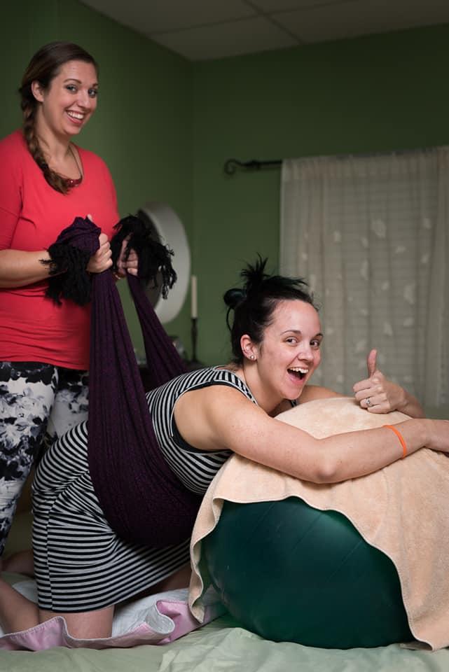 Doula Victoria Ranes Using a Rebozo