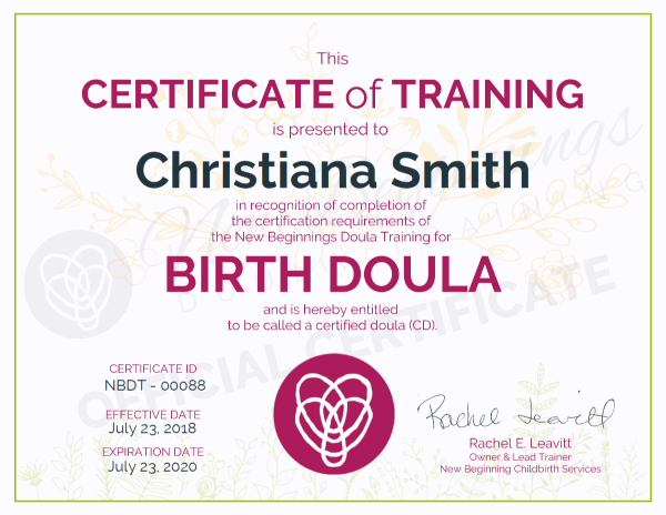 Christiana Smith, Certificate of Completion Birth Doula