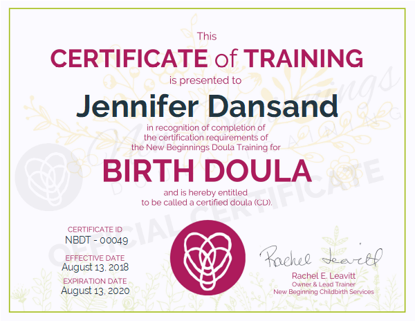 Jennifer Dansand, Certified Birth Doula Serving the Northeast Wisconsin Area