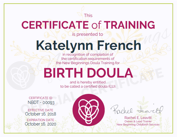 Katelynn French, Certificate of Completion for Birth Doula