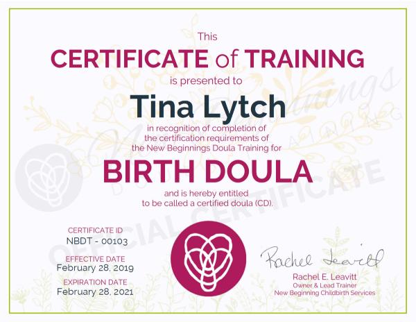 Certificate of Training, Tina Lytch, Birth Doula, San Antonio, Texas