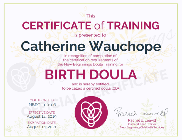 Catherine Wauchope, Certificate of Training,  Birth Doula in Melbourne Metro Area