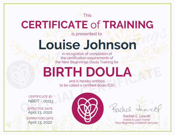 This Certificate of Training is presented to Louise Johnson for Birth Doula