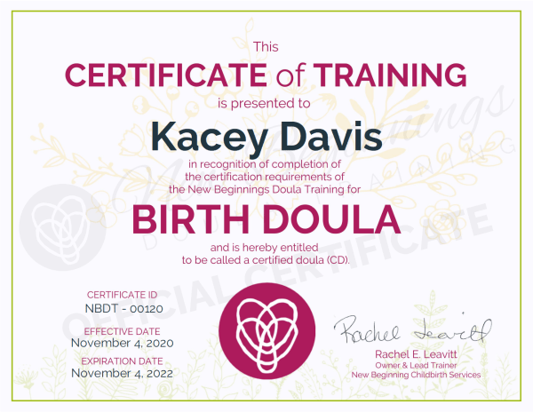 Certificate of Training, Kacey Davis, Birth Doula