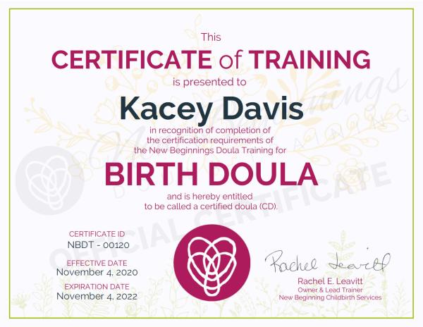Certificate of Training, Kacey Davis, Birth Doula