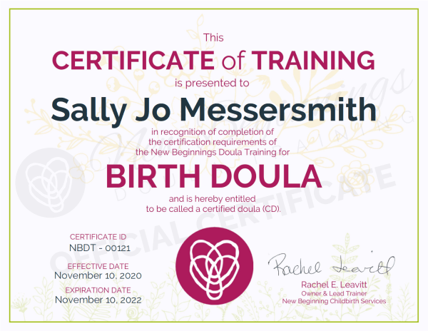 Certificate of Training, Sally Jo Messersmith, Birth Doula