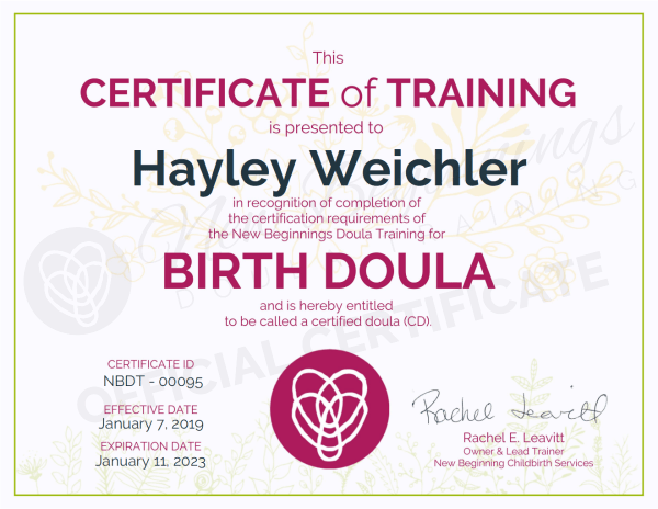Certificate of Training,  Hayley Weichler,  Birth Doula