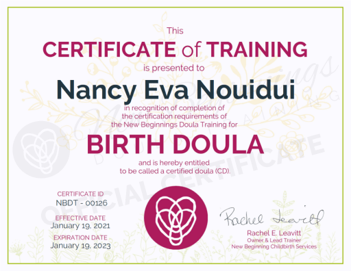 Certificate of Training Nancy Eva Nouidui Birth Doula