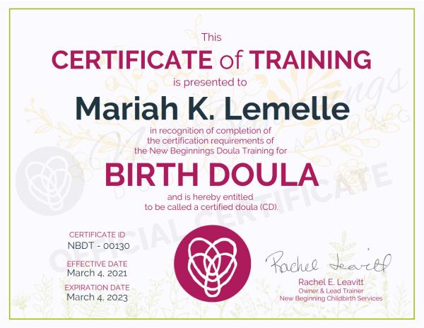 Certificate of Training Mariah K. Lemelle Birth Doula