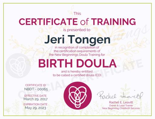 Certificate of Training, Jeri Tongen, Birth Doula