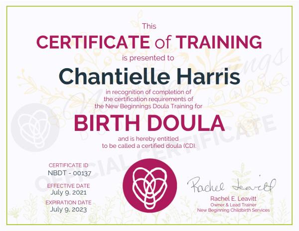 Certificate of Training,  Chantielle Harris, Birth Doula
