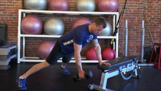 Bench Plank Dumbbell Row Exercise