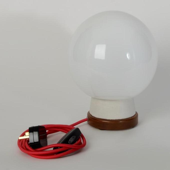 white globe desk lamp