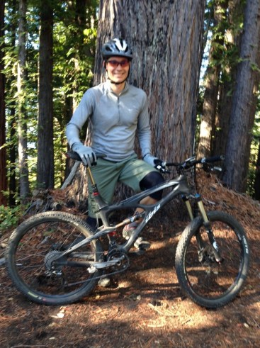 Mid-ride in Nisene Marks. You can barely tell I'm exhausted.