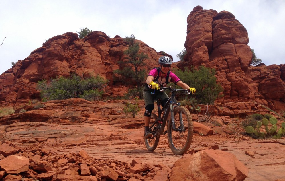 Grinning during a 45-degree descent on Hi-Line trail in Sedona.