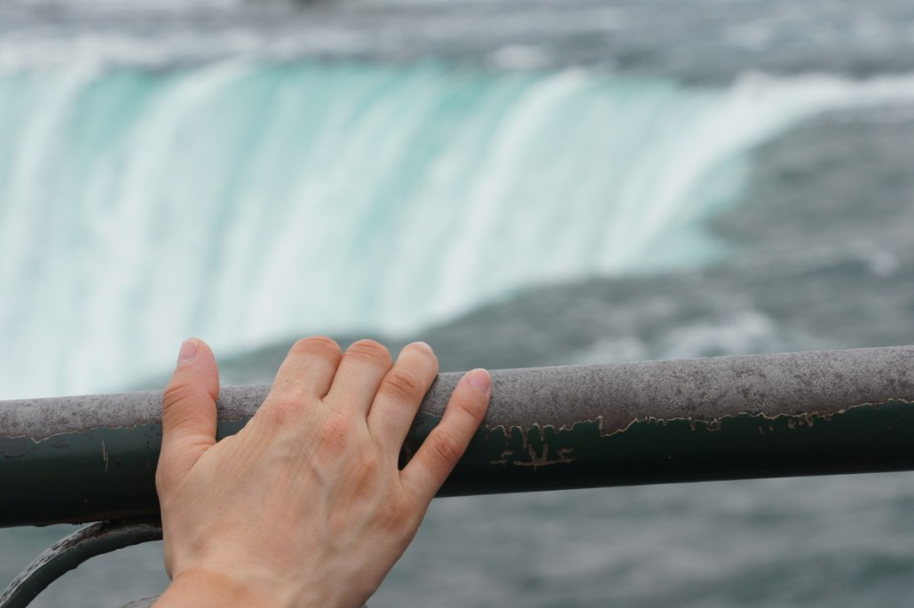 A much-leaned-upon railing overlooking Horseshoe Falls in Niagara. Notice Chelsea's awesome tan lines from her cycling gloves!