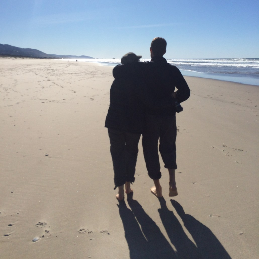 When NARG isn't around, C and I get along. :) Here we're enjoying a walk on the Oregon beach. Always sunny in the NW!