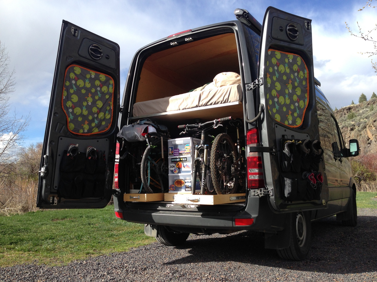 The adventure mobile our diy sprinter camper van bicycle hauler sprinter van bike and gear garage the drawers on the leftright pull out solutioingenieria Images
