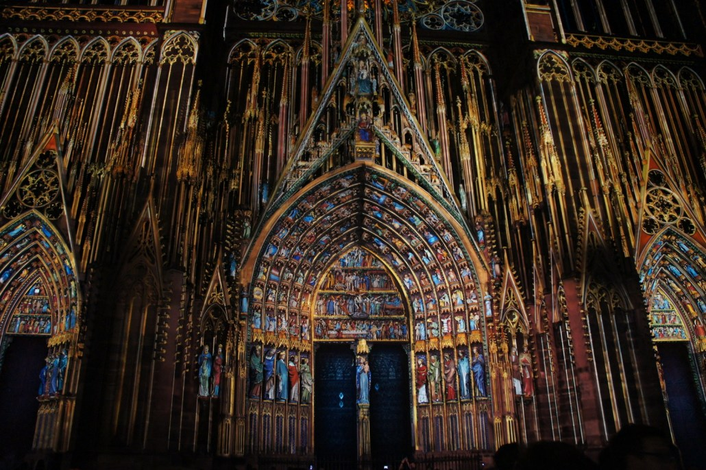 We happened to catch the 1,000 year millennial of the Strasbourg cathedral. This light show detailed each statue and window on the enormous cathedral.