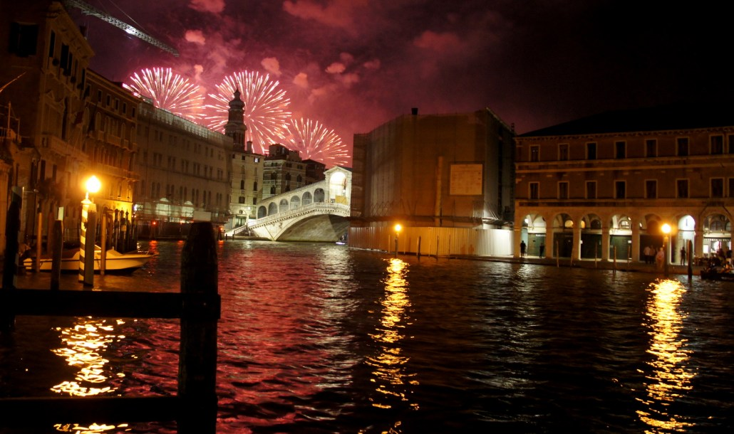 Fireworks over the canals of Venice. We happened to be in town for a yearly festival.