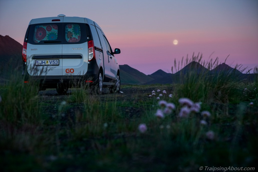 Camper van Iceland night shot