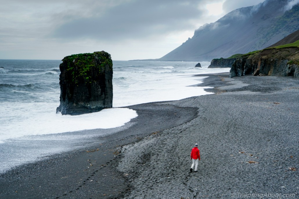 A perfect black sand beach in southern Iceland.