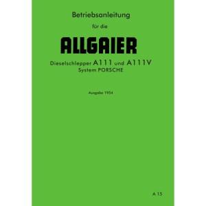 Allgaier Traktor Betriebsanleitung Bedienungsanleitung A111 A111V Dieselschlepper