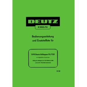 Deutz Bedienungsanleitung Ersatzteilliste 13PS Schlepper F1L712