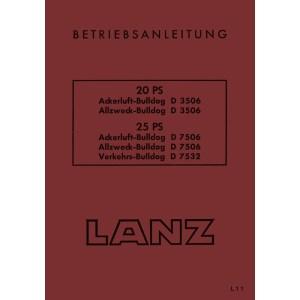 Lanz-Bulldog Traktoren Betriebsanleitung 20PS 25PS Ackerluft D3506 D7506 D7532