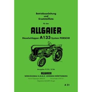 Allgaier A 133 / A133 Betriebsanleitung Ersatzteilliste