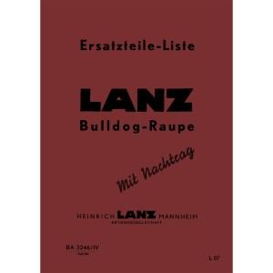 Lanz-Bulldog Ersatzteilliste Raupe Ersatzteil-Liste