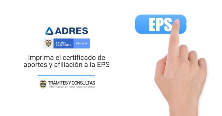 ADRES para consultar mi estado de afiliación y expedir mi certificado de aportes a la EPS