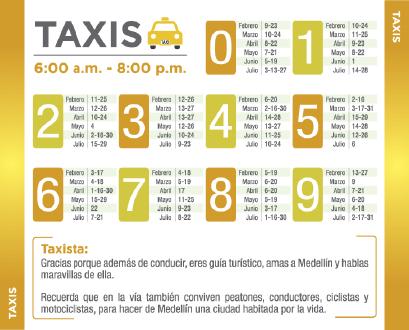 pico-y-placa-medellin-taxis-primer-semestre-2015