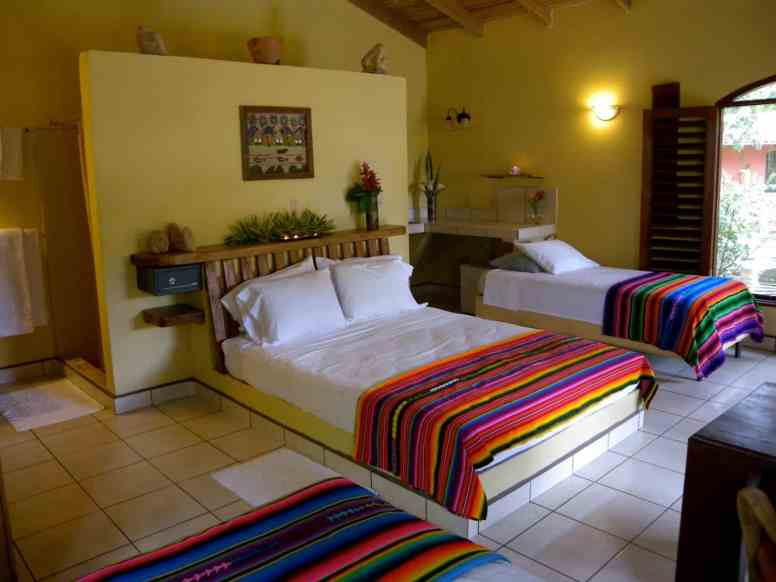 beds and kitchen in one of the cabanas