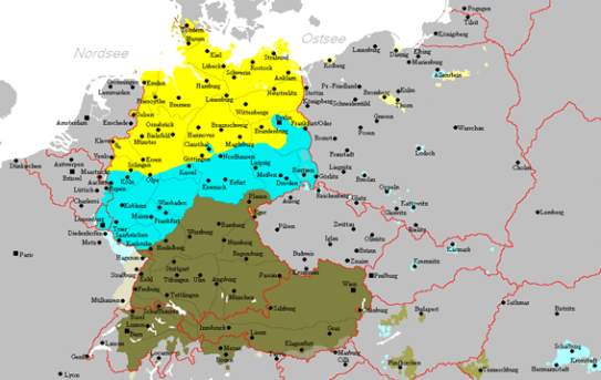 In yellow areas Low German is spoken, in light blue Middle German and in dark green High German. https://de.wikipedia.org/wiki/Zweite_Lautverschiebung#/media/Datei:Heutige_deutsche_Mundarten.PNG