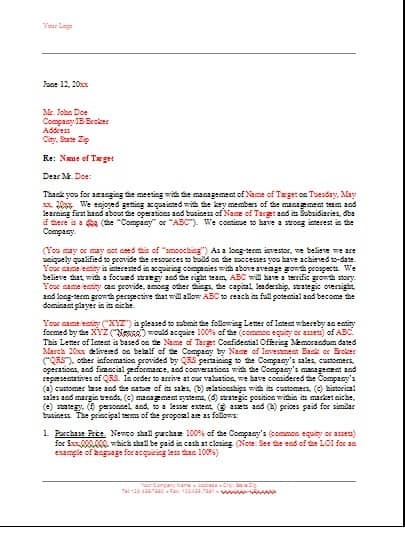 Loi Template spartan group ltd new images letter of inquiry – Letter of Intent Template