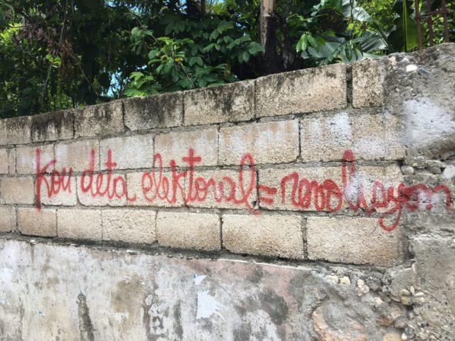 "Graffiti in Jacmel:  ""Electoral coup d'etat = revolution"""