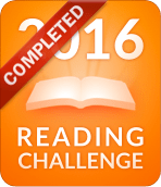 Orange banner with text 2016 Reading Challenged with a book in white on in the centre. A red ribbon with 'completed' crosses the left hand top corner.